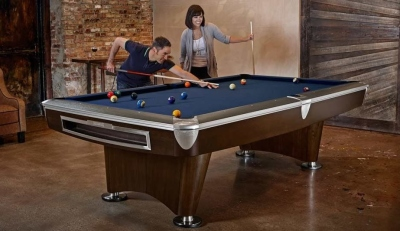 Pool Billardtisch Brunswick Gold Crown VI, 8 Fuß (8ft), Skyline Walnuss Nickel