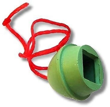 Chalk holder for billiards table with cord, made of solid rubber green