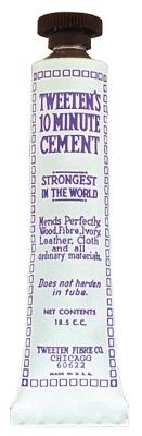 Cue tip adhesive cement