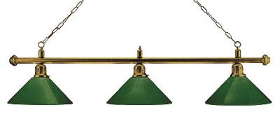 Billiard Lamp London 3X Brass / Green