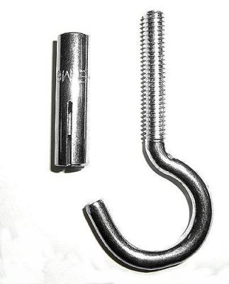 Deckenhaken mit Spezial-Metalldübel ( M6) zur Befestigung von Boxsäcken in Betondecken
